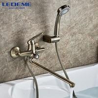 LEDEME Antique Brass Bathtub Faucet Bath Faucet Mixer Tap Wall Mounted Hand Held Shower Head Kit