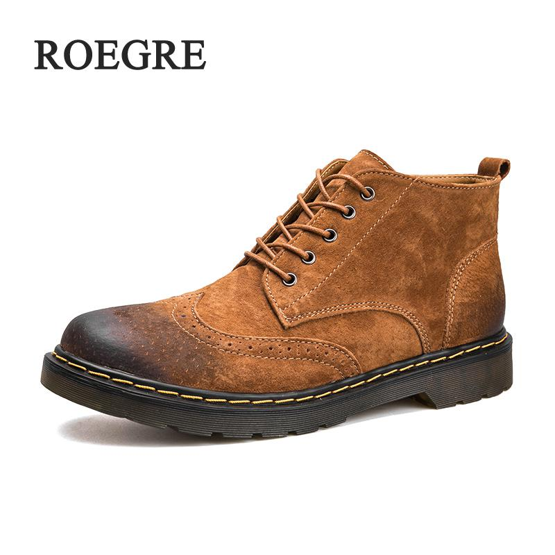 Genuine Leather Men Boots Spring/Autumn Ankle Boots Fashion Footwear Lace Up Shoes Men High Quality Vintage Men Shoes men spring autumn full grain leather ankle boots lace up fashion casual real leather men boots 20170107