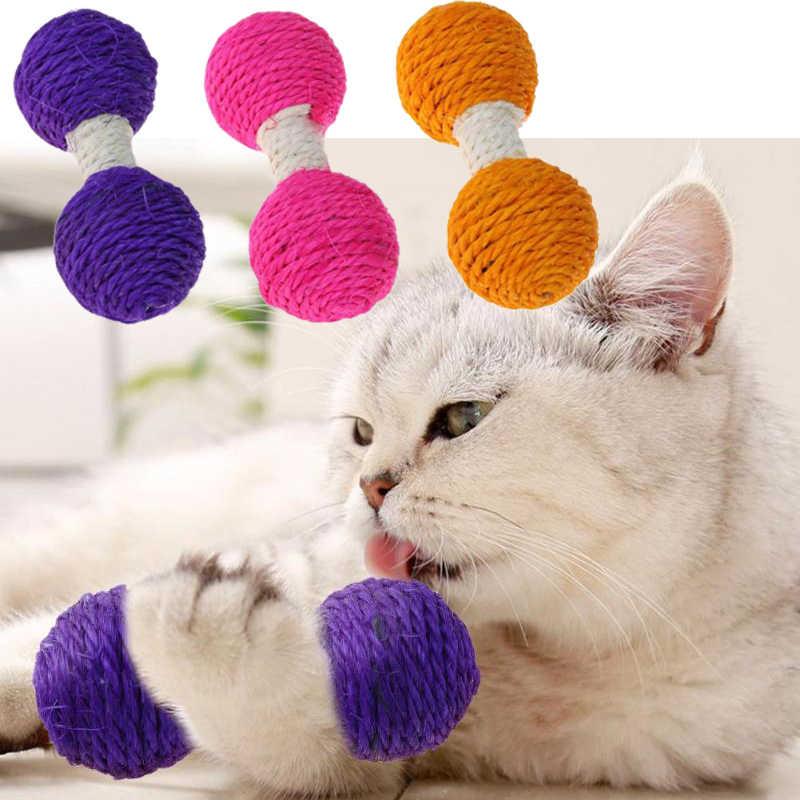1 pc 고양이 sisal 대마 덤벨 긁적 장난감 애완 동물 스크래치 씹기 티저 장난감 고양이 애완 동물 제품 용품