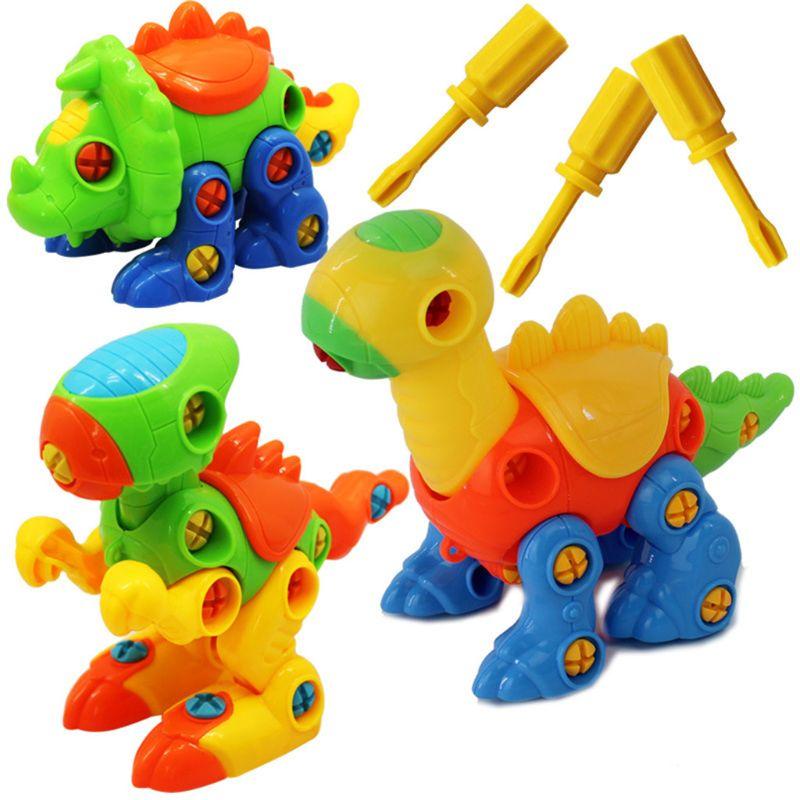 1 Set Kids Vergadering Speelgoed Cartoon Dier Dinosaurus Nemen Elkaar Schroeven Blokken Bouw Baby Vroeg Leren Educatief Speelgoed