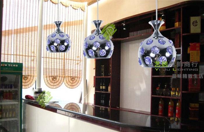 FREE SHIPPING EMS 3PCS pendant lights Dropligh wrought iron ball purple crystal droplight bar pendant lamp ZZP67