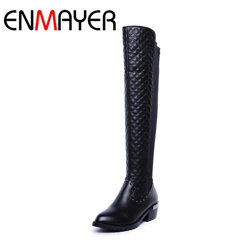 ФОТО ENMAYER Long Boots Shoes Woman Low Heels Rivets Knee-high Boots for Women Platform Black Round Toe Winter Shoes Western Boots