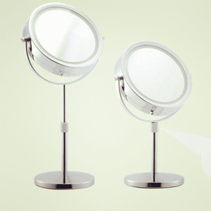 7 inch fashion high-definition desktop mirror makeup 2-Face metal shower mirror extension-type Adjust height battery LED lamp
