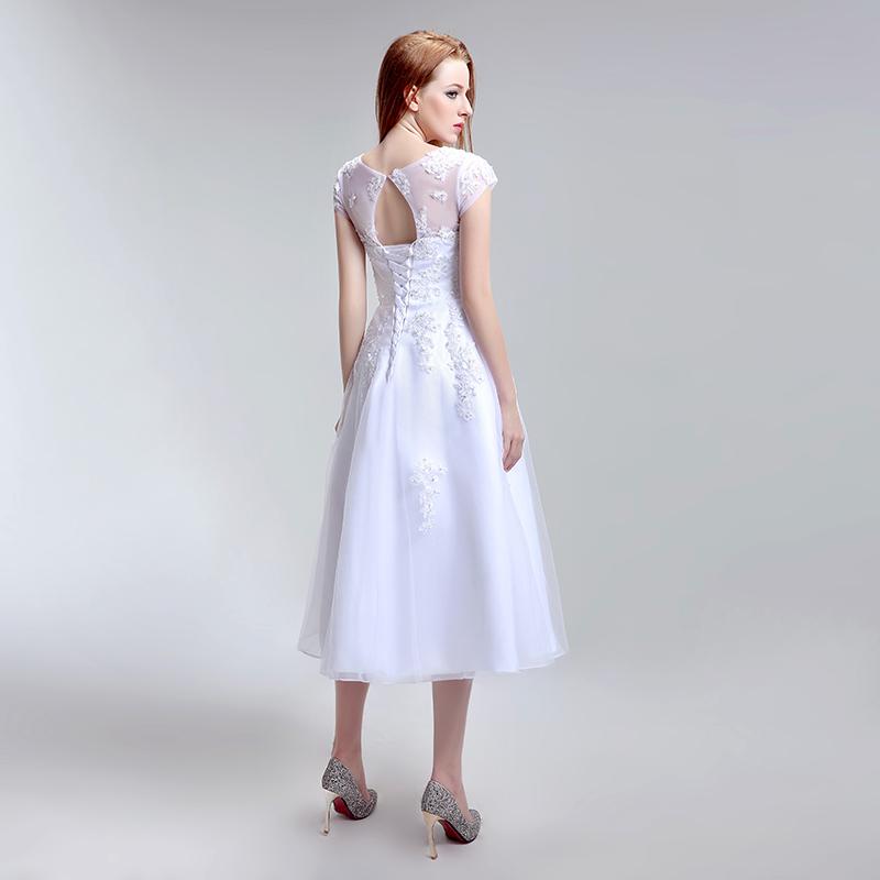 Simple Tea Length Lace Appliques Wedding Dresses Tulle A Line Cap Sleeve Little White Dress Cheap Short Bridal Party Gowns LX183 4