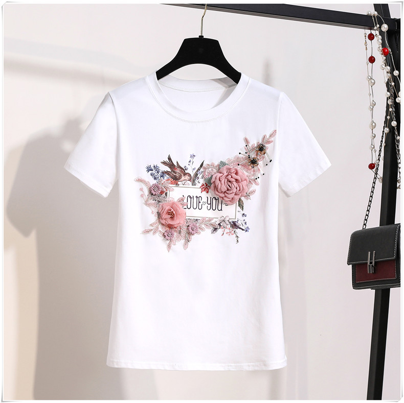 3D Flowers Stylish T Shirts 3