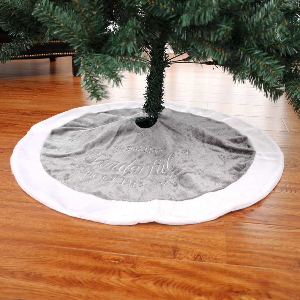 90cm 4 color Christmas tree skirt  Christmas embroidery tree skirt short plush Christmas tree decoration mat Scene decoration