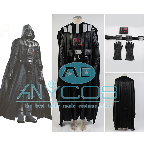 Star Wars Darth Vader Kostyme Jumpsuit Skreddersydde Movie Cosplay Kostyme For Menn Halloween Party Full Set Gratis frakt