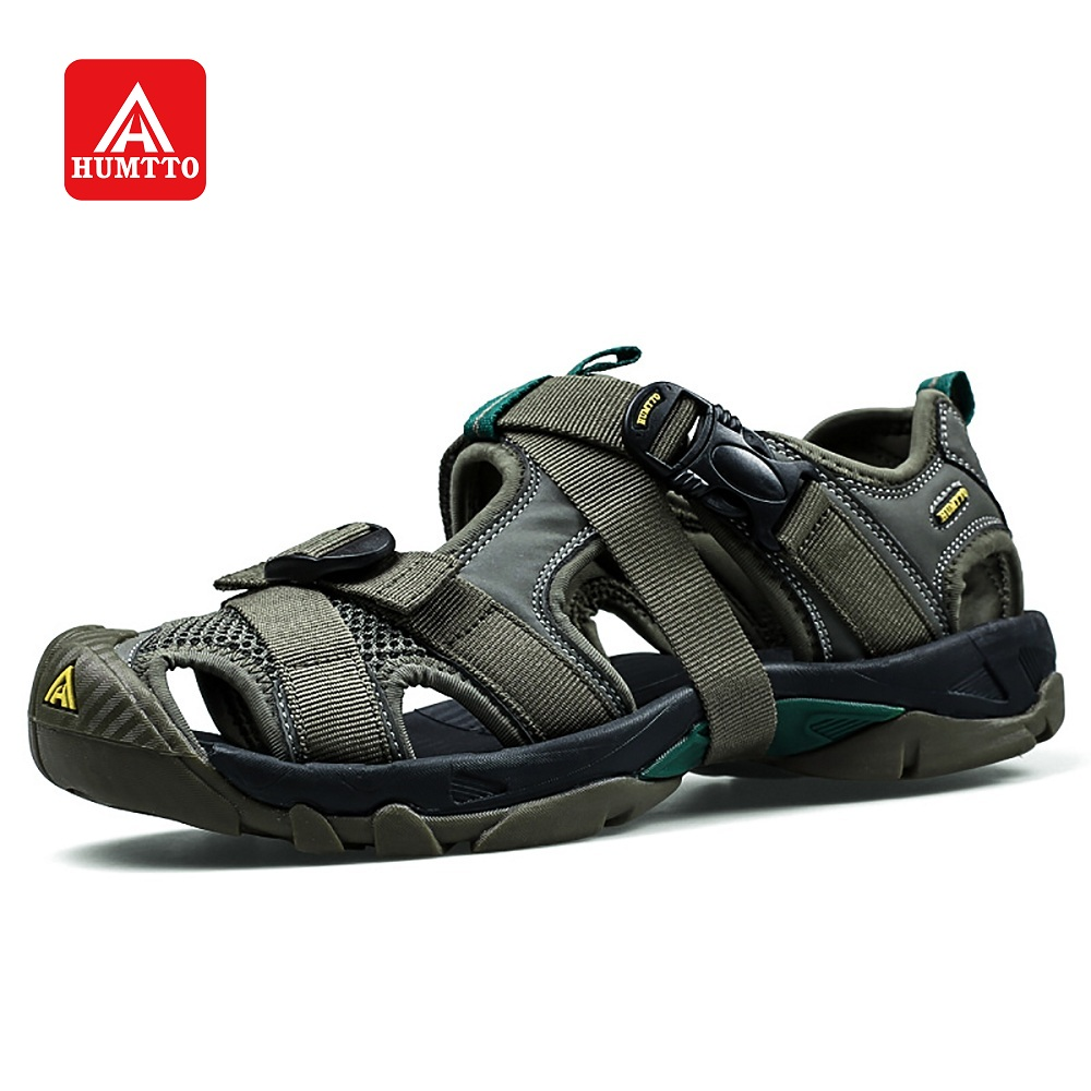HUMTTO Outdoor Beach Shoes Sandals Men Sneakers Summer Lightweight Closed Toe Platform Trekking Shoes Hook Loop