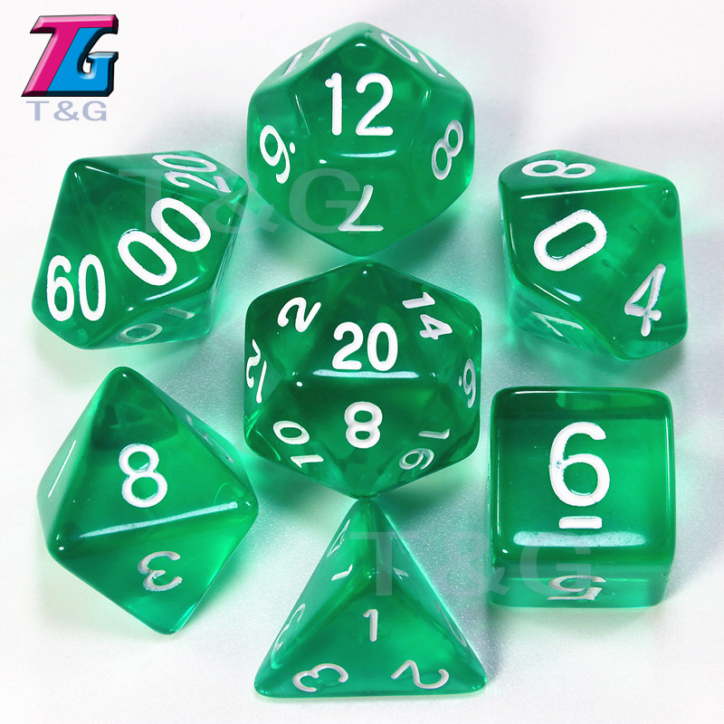 7pcs/Set TRPG Dice For Dungeons&Dragons D4-D20 Multi Sided Games Dices 10 Color Desktop Polyhedral Set Acrylic Plastic Toy Kit