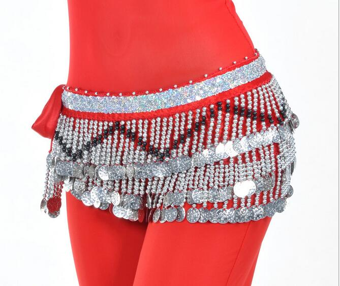 Image 4 - Cheap Belly Dance Hip Scarf 258 Silver Coins 150cm Dangling Coin Belt Profession Velvet Performance Skirt Hip Wrap Free Shipping-in Belly Dancing from Novelty & Special Use