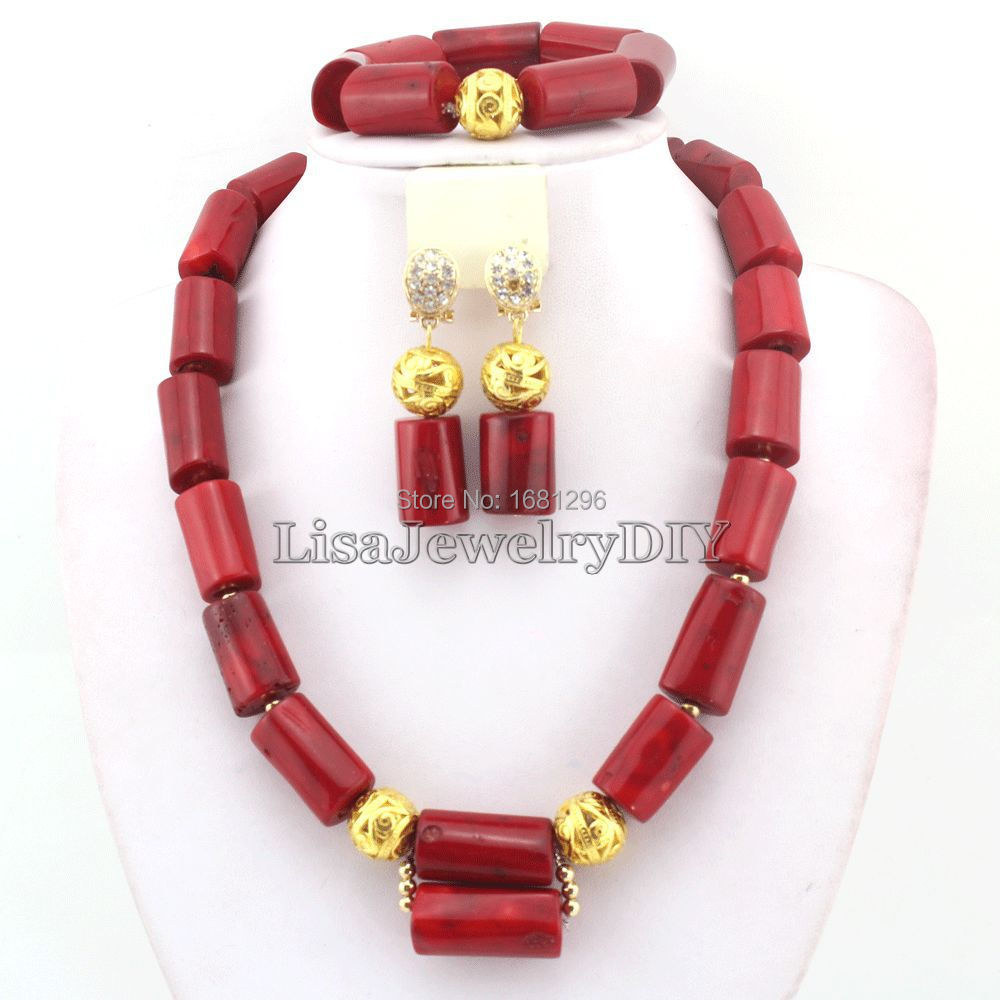 Amazing!Red Coral Wedding Jewelry Set African Costume Jewelry Coral Beads Jewelry Sets Necklace Bracelet Clip Earrings HD0405