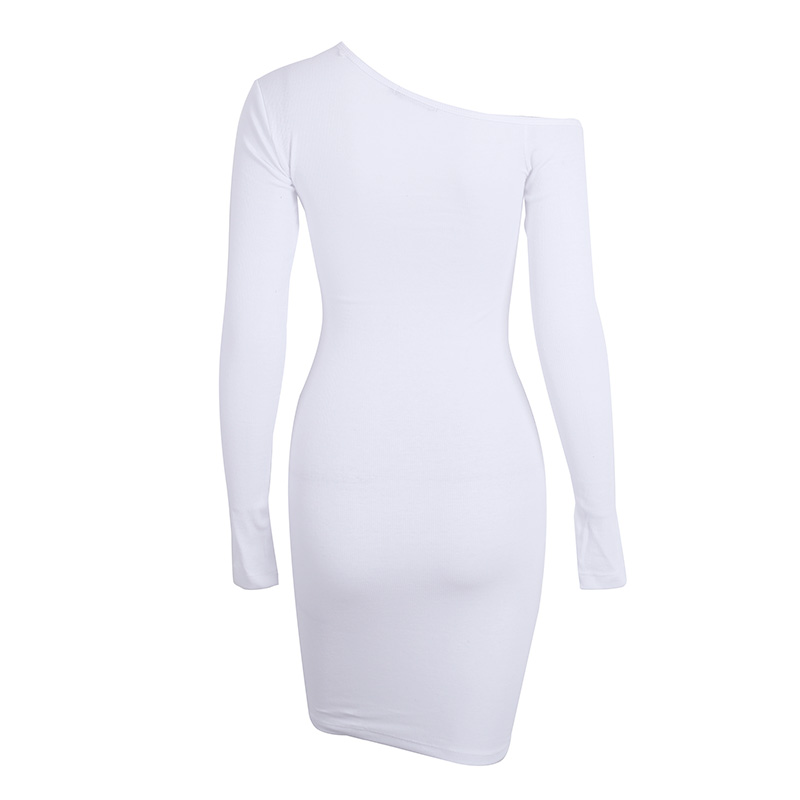 BerryGo Elegant off shoulder bodycon dress Long sleeve short evening party club white dress Women autumn winter black sexy dress 19