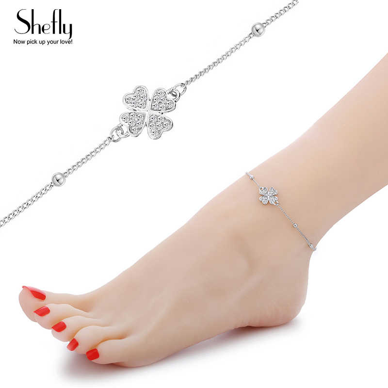 Модный Клевер украшения ножные браслеты для женщин CZ Кристалл Бабочка и круги медь лодыжки серебристого цвета пляжные женские бижутерия для ног