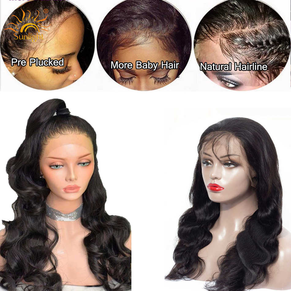 150 Плотность парики с волнистыми волосами бесклеевая кружевная передняя часть человеческих волос парик предварительно сорвал для черных женщин Солнечный свет глубокая часть Remy бразильский парик