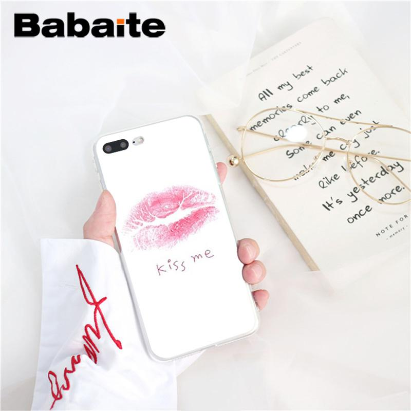 , Babaite Sexy Girl red Lips Newly Arrived Phone Accessories Case for iPhone 8 7 6 6S Plus 5 5S SE XR X XS MAX 10 Coque Shell