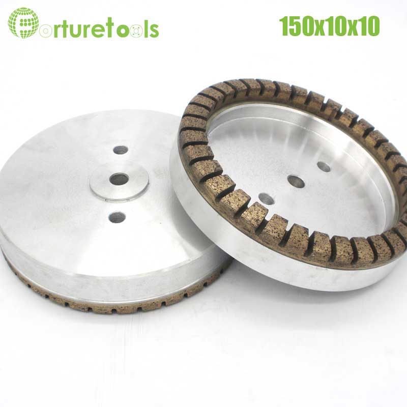 цены  1pc Full segment 1# diamond wheel for glass edger straight line machine Dia150x10x10 Inner Diameter 12/22/50 grit 80# 100# BL004