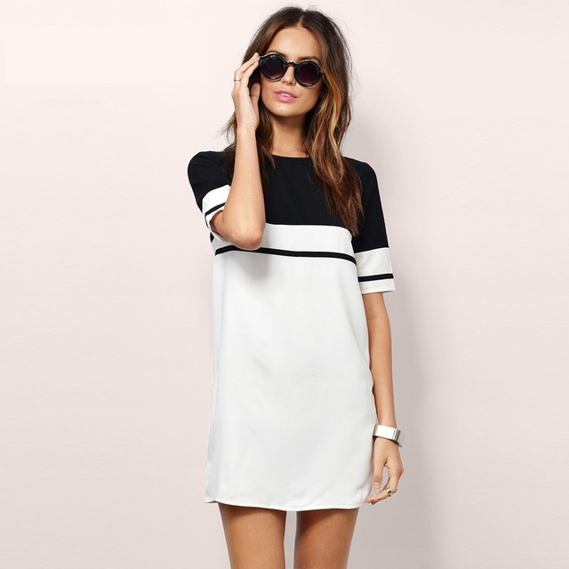 b95c03a8a54b 2017 Women Shirt Dress Top Tee Summer Style Short Sleeve Stripes Loose  Casual Jersey Mini Shift Dress Long T-shirt Y0830-59E