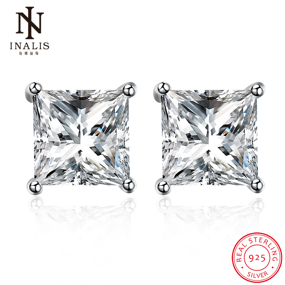 Inalis Fashion Jewelry 100% 925 Sterling Silver Square Stud Earrings Female  Luxury Cz Zircon Style