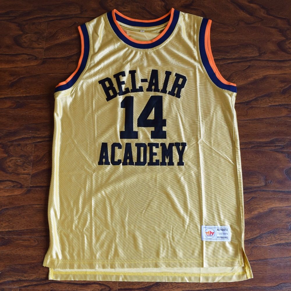 MM MASMIG Will Smith  14 Bel-Air Academy Basketball Jersey Stitched Gold c79182e86765