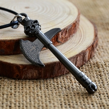 Retro personality Skeleton Skull Ax Pendants Necklaces Fashion Gun Black Necklace For Travel To Commemorate Friend Gift Jewelry