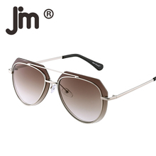 JM Wholesale 50pcs/Lot Free Fast Shipping Retro Aviation Mirror Gradient Lens Double Metal Frame Sunglasses for Women Men