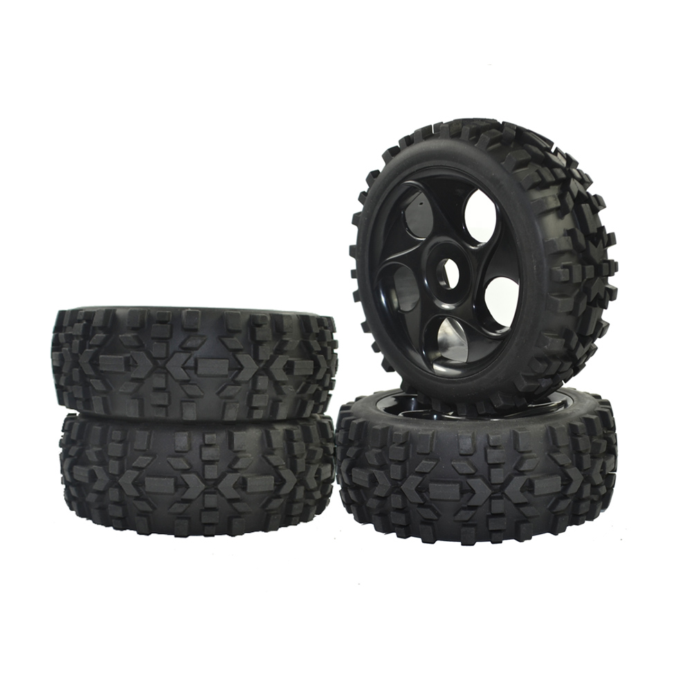 RC 1/8 Scale Off Road Car Buggy RC Tires Tyre and Wheels Black 4PCS 4pcs lot smooth rc drift wheels tires 12mm hub hex tyre for 1 10 scale with lock nut m4
