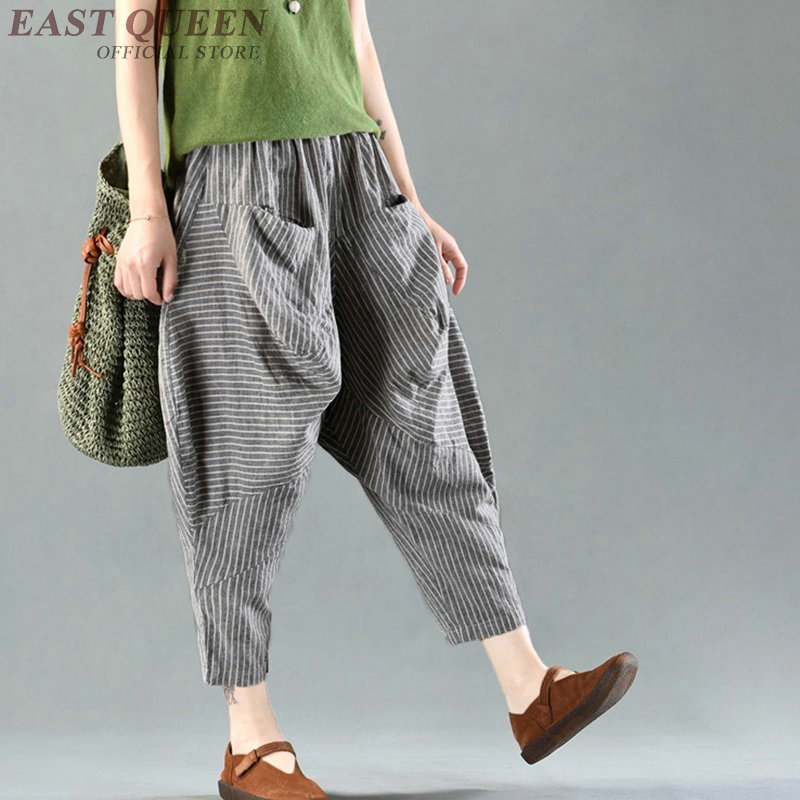 Palazzo culotttes femme wide leg pants women Chinese loose baggy ladies elegant linen sexy pants trousers AA4039