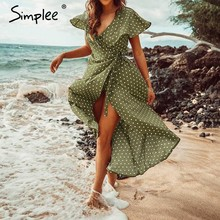 Simplee Vintage dots print satin women summer dress 2019 Elegant v neck wrap sashes dresses Sexy female party long dress(China)