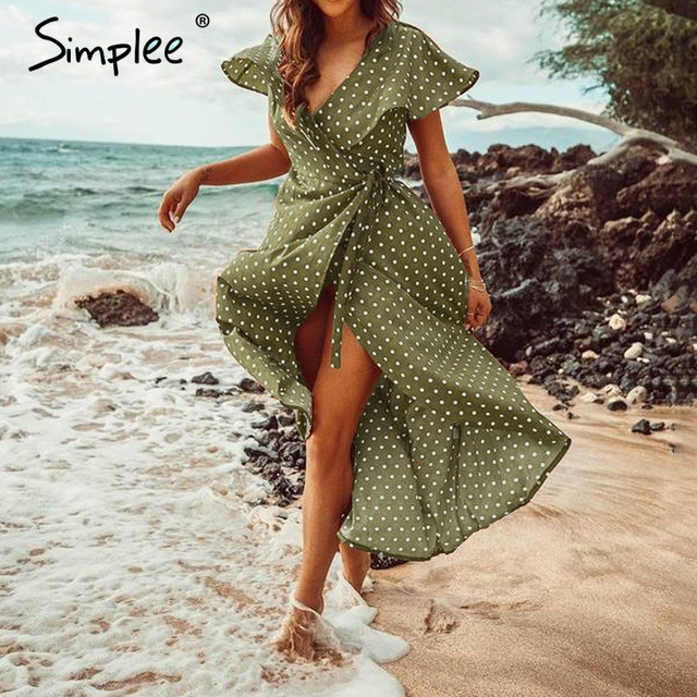 2bc2c3c42ff Simplee Vintage dots imprimer satin femmes robe d été 2019 élégant col en v  wrap ceintures robes Sexy femme fête longue robe