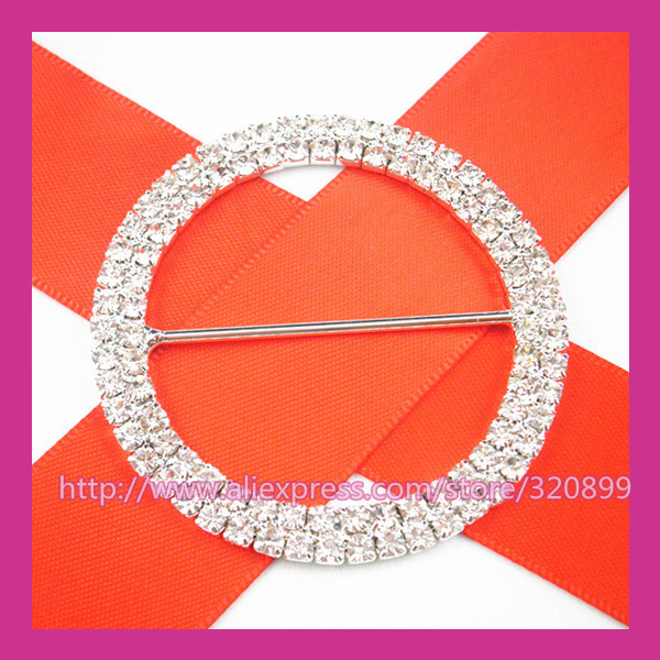50pcs/lot 52mm Outer  Wedding Belt Buckles ,Gorgeous Rhinestone Chair Sash Buckle  for Wedding ,Big Rhinestone Buckle
