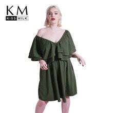 Kissmilk Plus Size Women Dress Simple Sexyv-neck Ruffled Pleated Dark Green