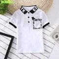 2017 niños del verano nuevos ropa de algodón camisa de polo de manga corta camisa de chico de alta calidad solapa impresión alfabeto Europea s
