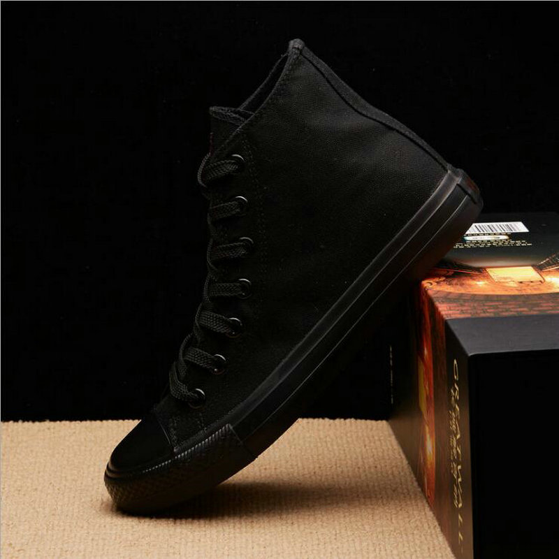 New Arrival Summer Fashion Men Flats Shoes All Black White Red Casual Shoes Mens Canvas Shoes Lace-Up High Top Shoes NN-14