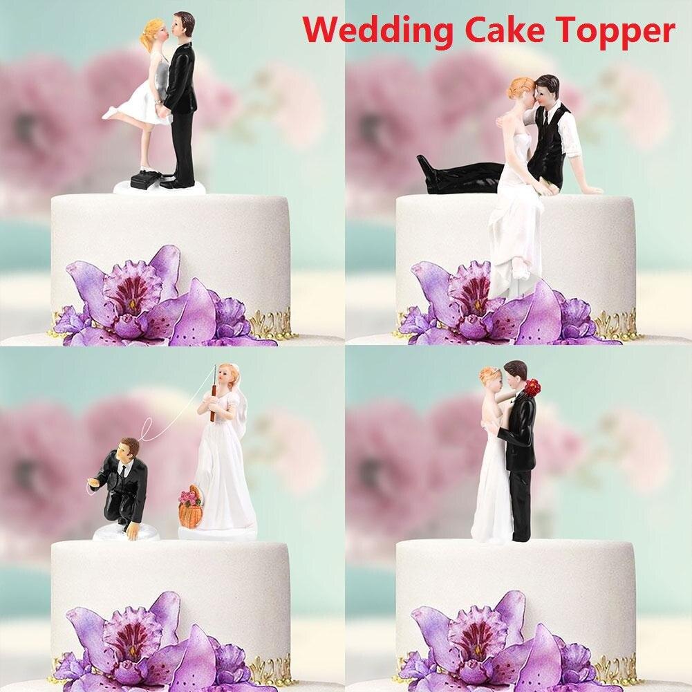 Wedding Decoration Elegant Synthetic Resin Bride&Groom Cake Topper Figurine Birthday Cupcake Casamento Marriage Party Supplies