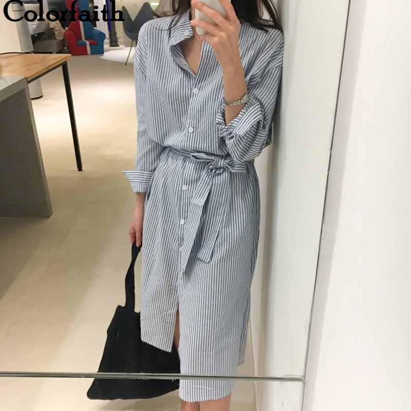Colorfaith 2019 Women Dresses Spring Autumn Elegant Casual Striped Shirt Dress Cotton and Linen Lace Up Single Breated DR1800(China)