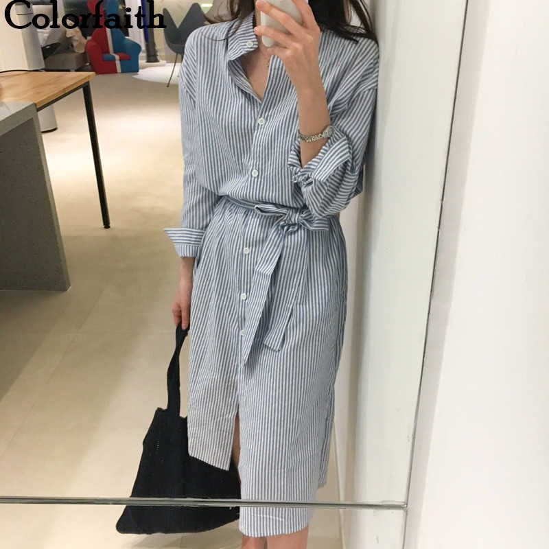 Colorfaith 2019 femmes robes printemps automne dames élégantes dames décontracté rayé chemise robe à lacets unique Breated DR1800