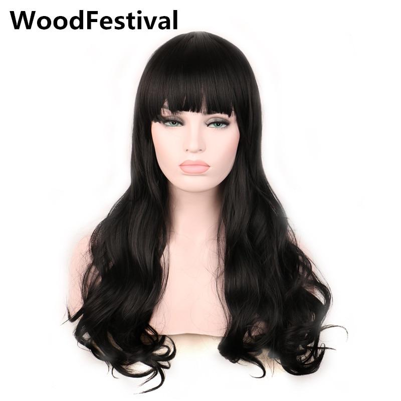 kvinna lockar långt hår kvinnor syntetiska peruker med pärmar mörkbrun auburn burgundy svart peruk 60cm värmebeständig WoodFestival