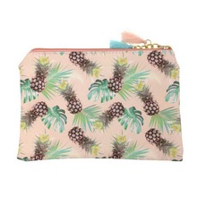 KANDRA Watercolor Pineapple Makeup Bag with Tassel Zipper Pouch Coin Purse Women Cute Fruit Travel Girls Pencil Case