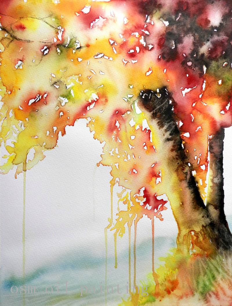 US $45 79 47% OFF|Top Artist Handmade Modern Abstract Wall Art Pictures  Hand Painted Watercolor Autumn Glow Tree Landscape Oil Painting on  Canvas-in