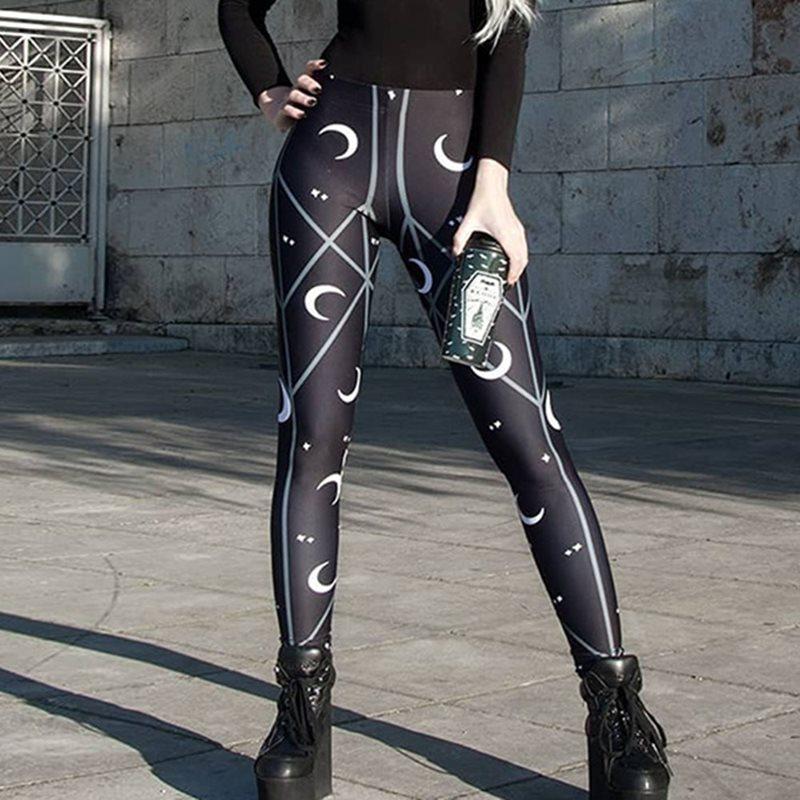 Punk Black Gothic Fall 2019 Sexy Club Women Leggings Fitness Geometric Print Push Up Moon High Waist Female Fashion leggins in Leggings from Women 39 s Clothing