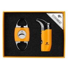 COHIBA Gadgets Cigar Windproof Lighter 2 Jet Flame Torch Sharp Cutter Guillotine Smoking Set Gift CLT-0104