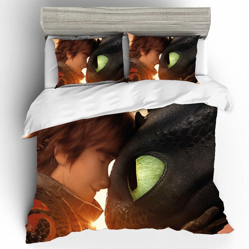 Как приручить дракона, принт из фильма, Комплект постельного белья s, пододеяльник, простыни, наволочки, постельное белье King, Комплект постел