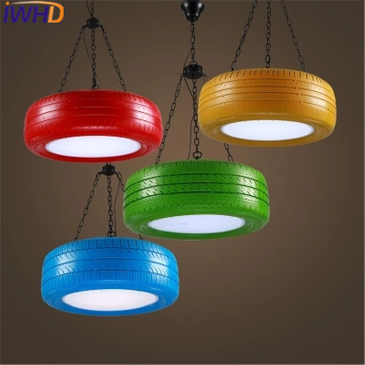IWHD Tires LED Pendant Light Fixtures Fashion Coloful Suspension Luminaire Kitchen HangLamp For Rustaurant Lights Lustre