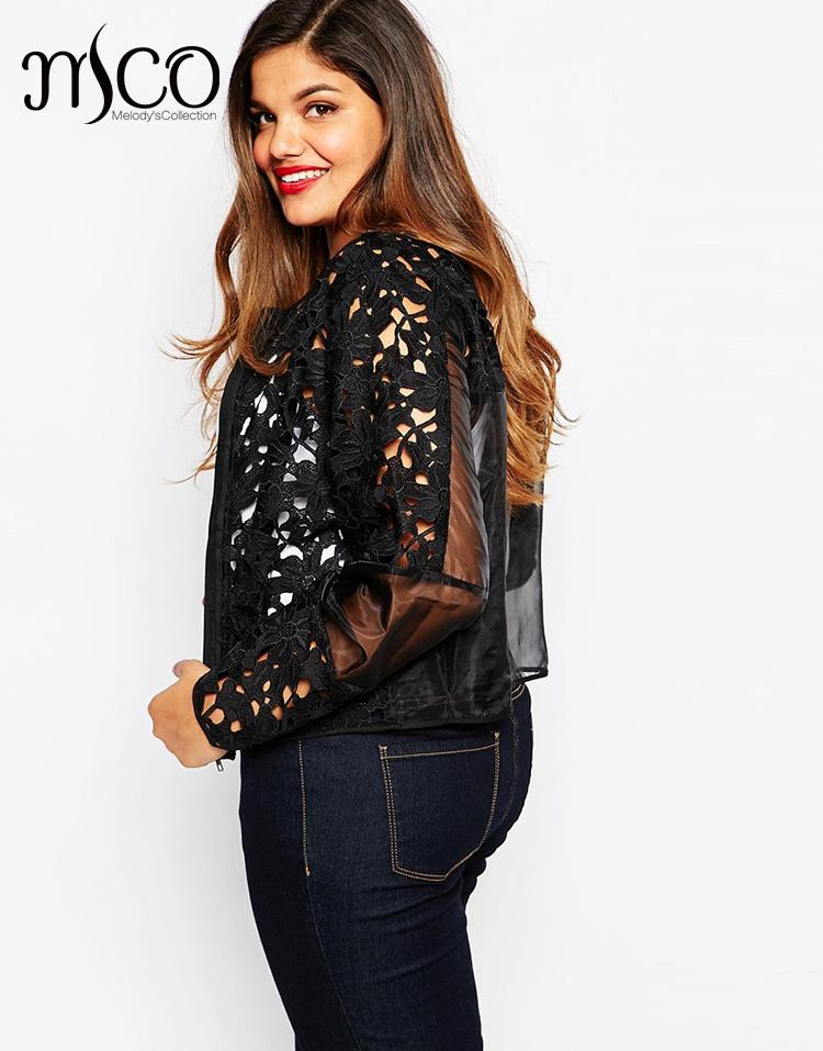 High Quality Autumn Festival Organza Embroider Bomber Jacket Street Women Floral Crochet Lace Cropped Jacket Plus Size 5xl 6xl plus size women in leather