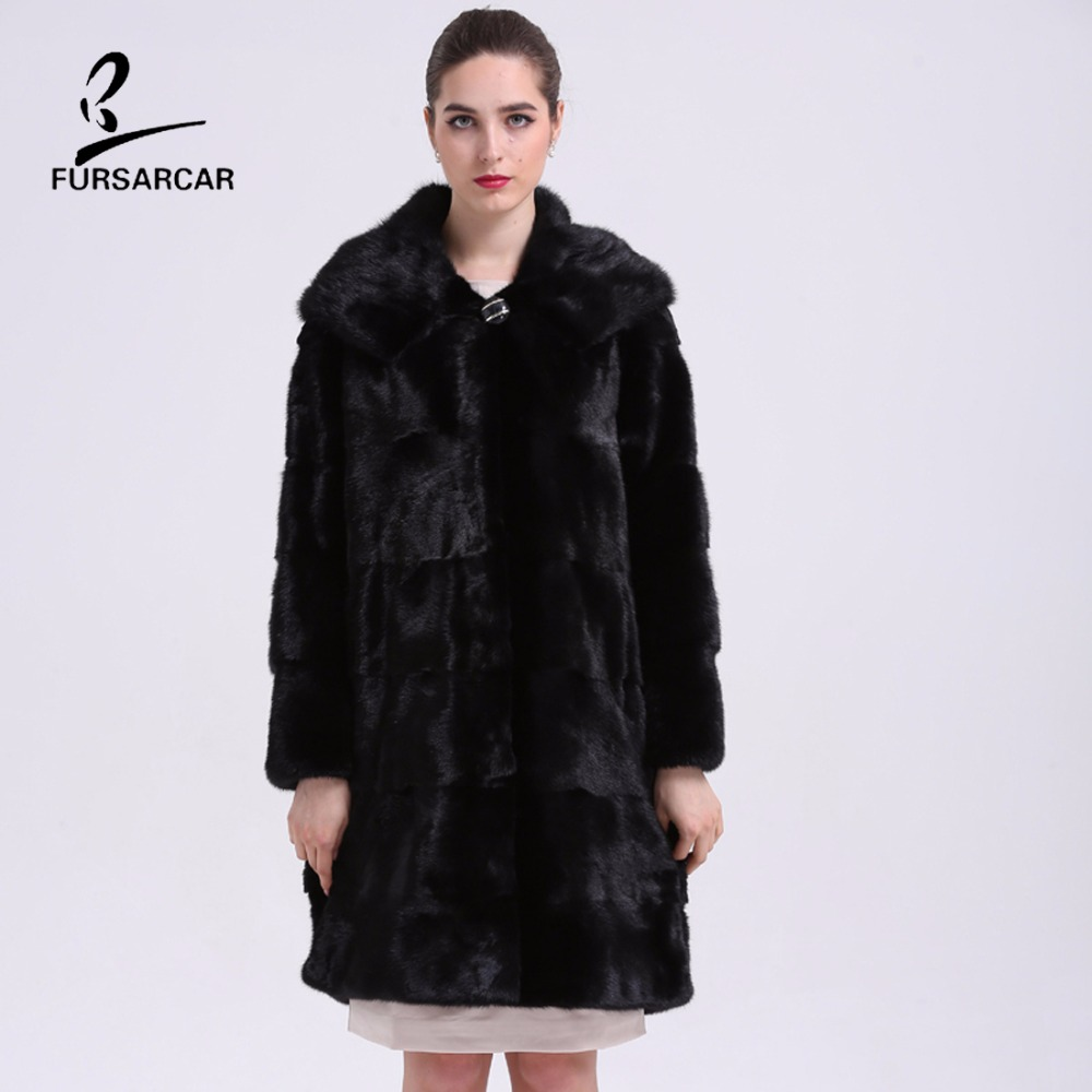 Real Fur Coats Black Mink Fur Coat With Genuine Fur Hooded Collar ...