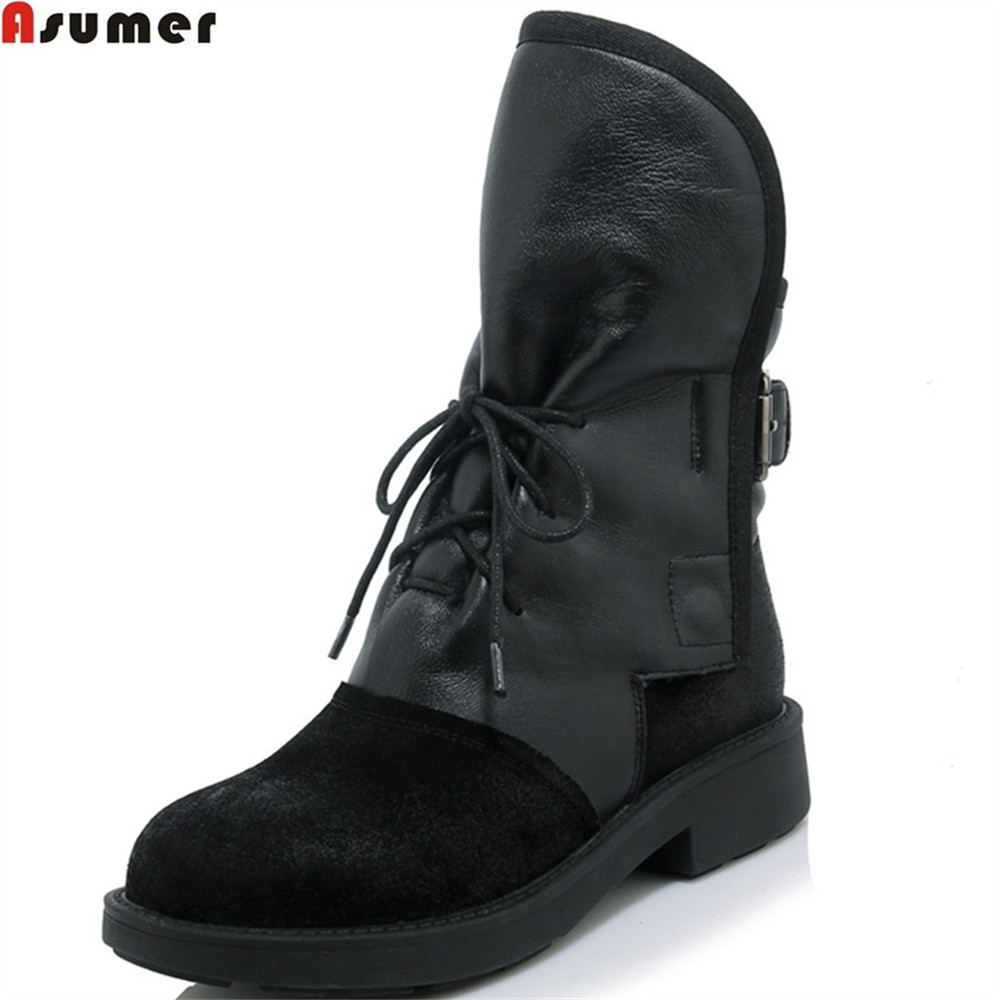 Asumer fashion new arrive women boots round toe black round toe buckle genuine leather botos cross tied leather ankle boots spring 2016 new arrive women fashion boots solid casual boots round waterproof high heeled women boots stretch stovepipe boots