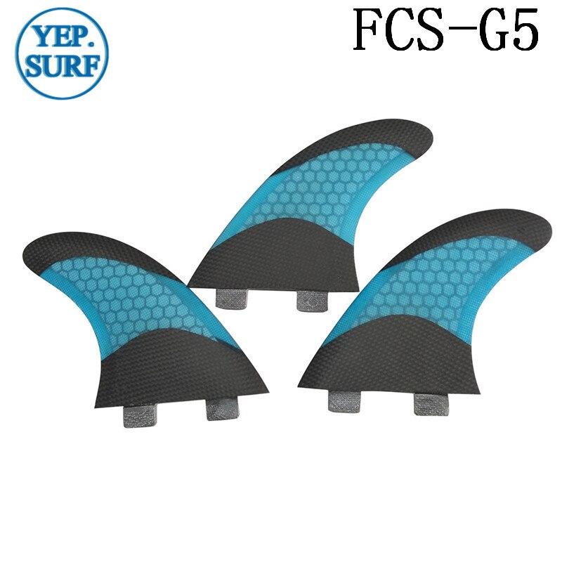 Surf FCS G5 Fins Blue color Surfboard Fiberglass Honeycomb in Surfing  Pranchas de