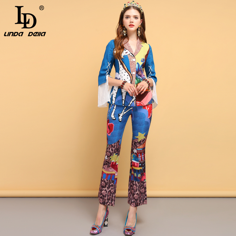 LD LINDA DELLA Fashion Designer Spring Vintage Suits Women's Bow Tie Animal Print Shirt And Floral Printed Pants 2 Pieces Set