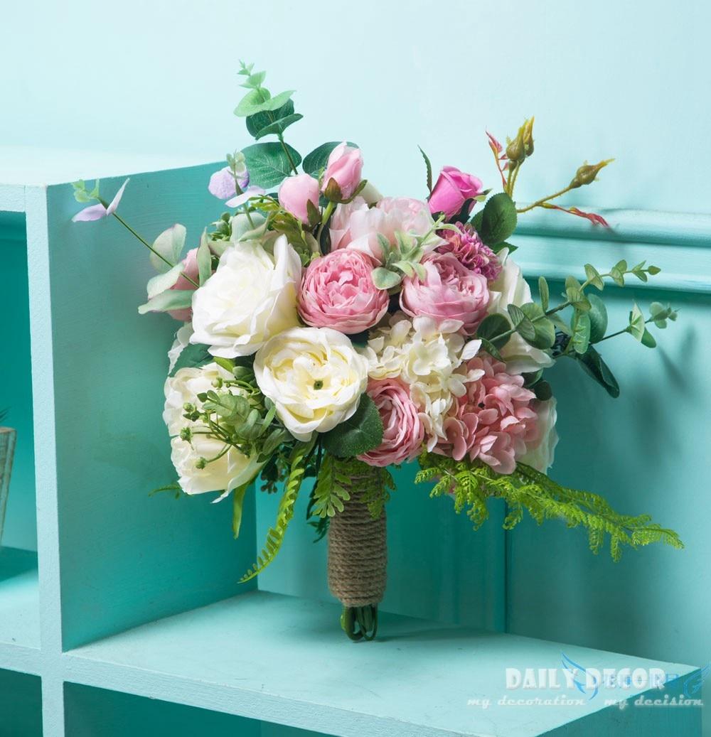 Big size ! artificial flowers wedding bridal hand holding flowers large wedding flower bouquet Wedding bride supplies pink