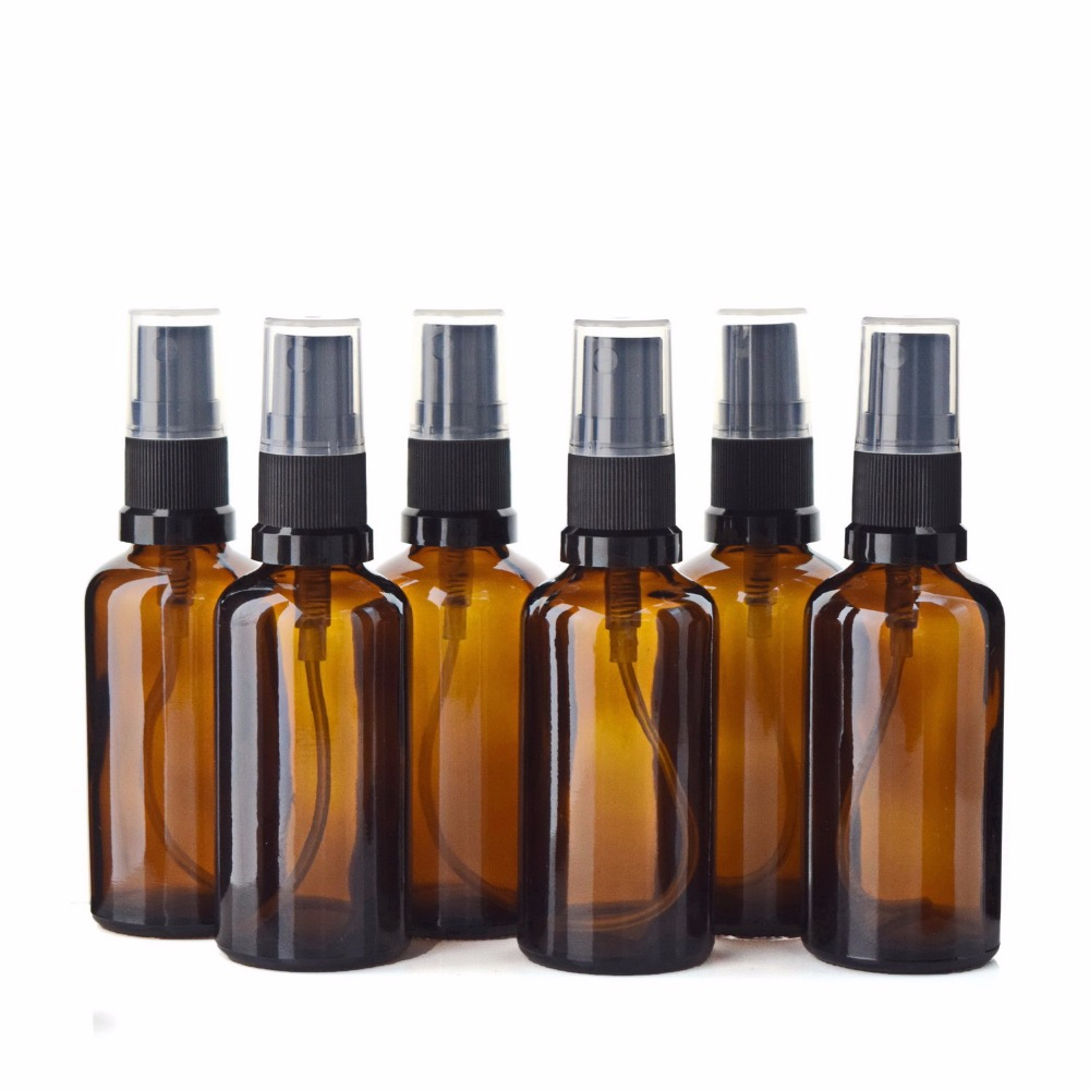 6pcs <font><b>50ml</b></font> Amber Glass <font><b>Spray</b></font> <font><b>Bottle</b></font> w/ Fine Mist Sprayer Travel Refillable Aromatherapy Perfume Atomizer Empty Cosmetic Container image